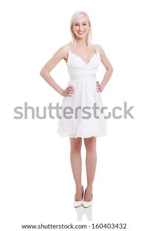 stylish blonde woman full length portrait on white - stock photo