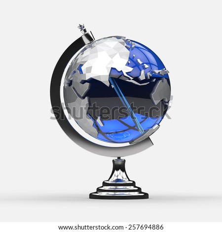 Stylish blue and silver globe model made of glass and metal. Home accessory. Educational object. Internet concept. - stock photo