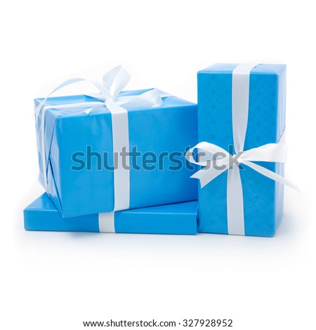 Stylish Blue and White Present Wrapping - stock photo