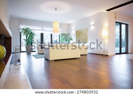 Stylish bright living room with wooden parquet - stock photo