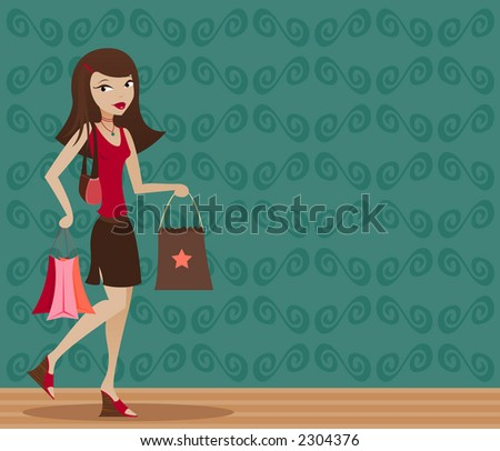Stylish brunette with shopping bags in hand - stock photo