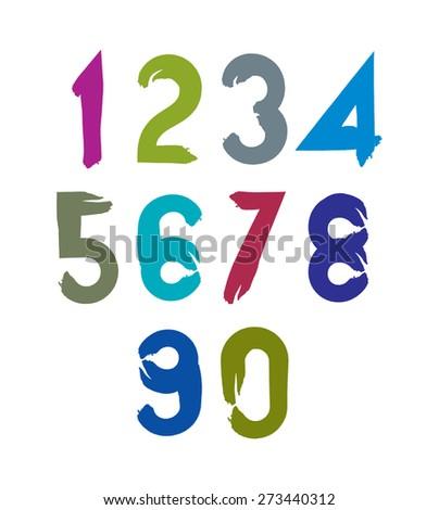 stylish brush digits, handwritten numerals, sans serif numbers set on white background. - stock photo