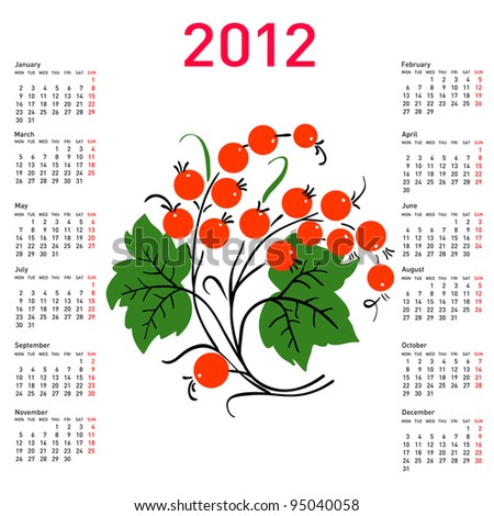 Stylish calendar with flowers for 2012. Week starts on Monday. Vector version also available in portfolio.