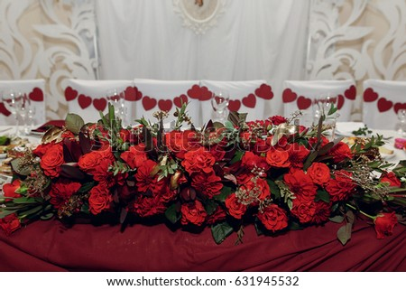 Stylish Centerpiece Table Bride Groom Red Stock Photo Edit Now