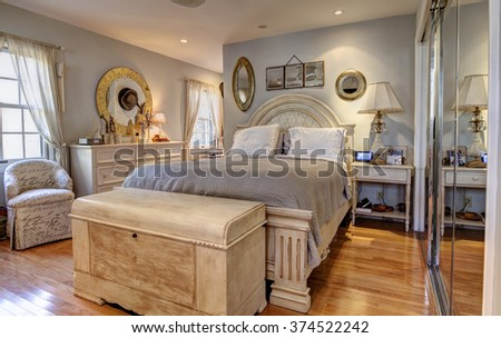 Stylish classic furnished bedroom interior - stock photo