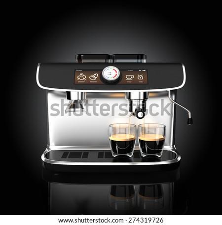 Stylish coffee machine brewing espresso in two glasses. Original design with clipping path. - stock photo