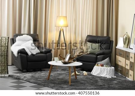 Stylish comfortable living room - stock photo