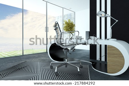 Stylish curved white modern office furniture in an upmarket office interior with a metal swivel chair, striped carpet and cabinet and a panoramic floor to ceiling view windows - stock photo