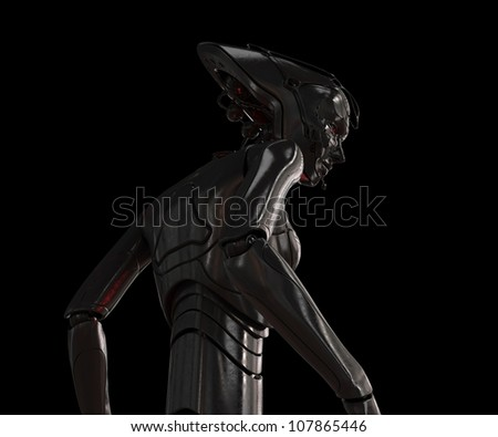 Stylish cyber girl on black - stock photo