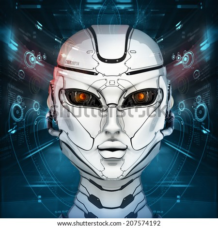 Stylish cyborg head in front of virtual background with digital interface - stock photo
