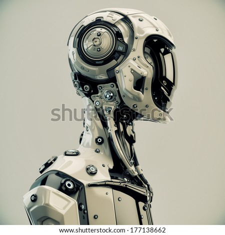 Stylish cyborg man / Serious futuristic robot in profile. 3d render - stock photo