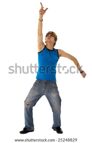 Stylish dancer shows something on top of him head over white - stock photo