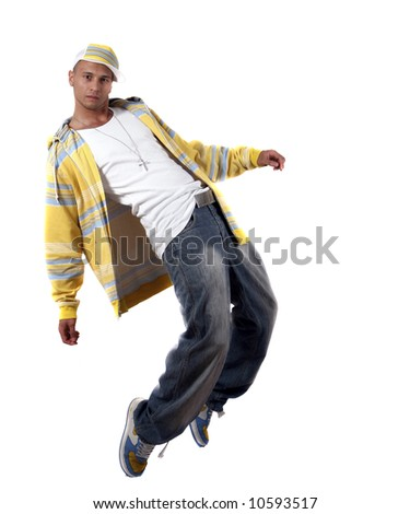 Stylish Dancer Young man with clothes in hip-hop style showing a dance move over pure white background. - stock photo