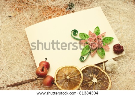 Stylish design with invitation card and lemons - stock photo