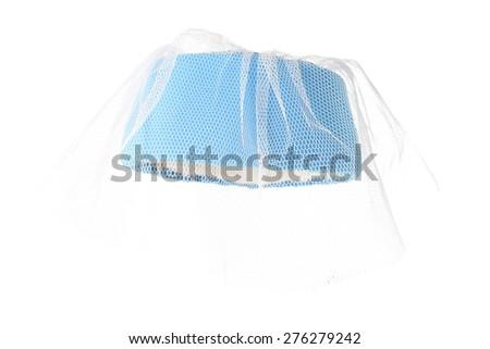 stylish fashion elegant retro blue hat with veil isolated on white background - stock photo