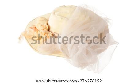stylish fashion elegant summer hat isolated on white background - stock photo