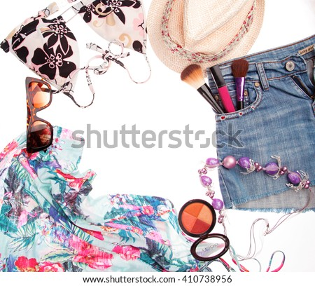 stylish,fashionable youth collage of summer clothes on a white background perfect new photo for advertising or banner on it cosmetics lipstick glasses shorts denim shirt top summer hat and accessories - stock photo