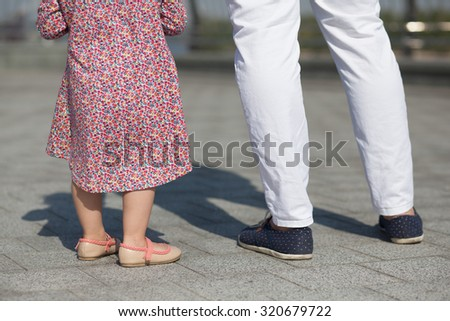 stylish father and daughter - stock photo