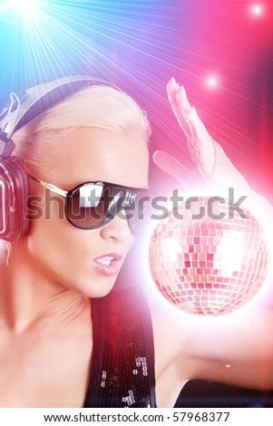 Stylish female DJ - stock photo
