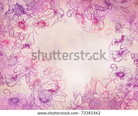 Stylish floral patterned background in purple and pink
