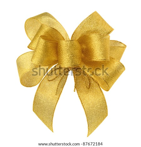 Stylish gold bow glittering on white background, studio shot - stock photo