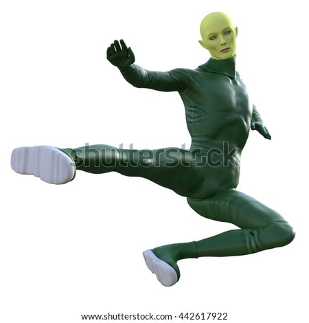 Stylish green alien creature in green coverall outfit isolated on white background. 3d illustration. - stock photo
