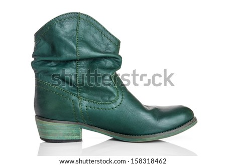 Stylish green leather boot, isolated on white background.