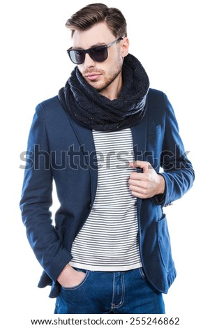 Stylish handsome. Fashionable young man in smart casual wear posing against white background - stock photo
