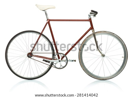 Stylish hipster bicycle - fixed gear isolated on white background - stock photo