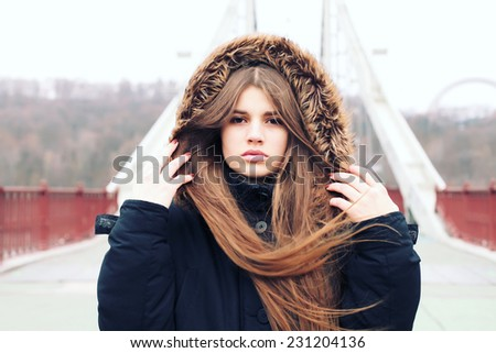 Stylish hipster girl, street fashion - stock photo