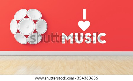 Stylish illustration mentioning I love music written on red wall with speakers attached