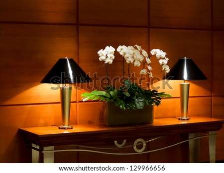 Stylish interior decor with potted orchids flanked by two illuminated tables lamps on a long narrow table - stock photo