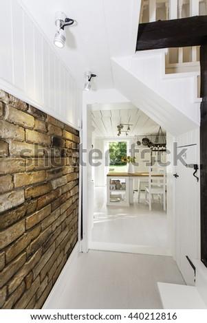 stylish interior with brick wall - stock photo