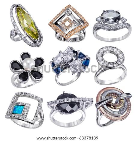 Stylish jewelry. Rings  with gems isolated on white background - stock photo