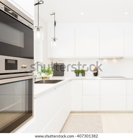 Stylish kitchen interior - stock photo