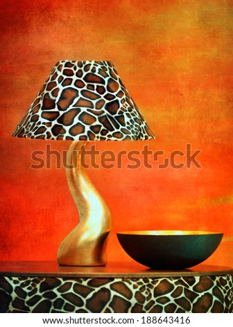 stylish lamp - textured old paper background  - stock photo