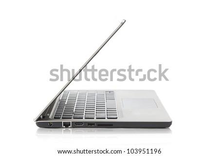 Stylish laptop isolated on white with shadow shot at studio - stock photo