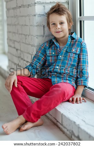 Stylish little boy - stock photo