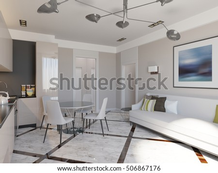 stylish living room and kitchen 3d render