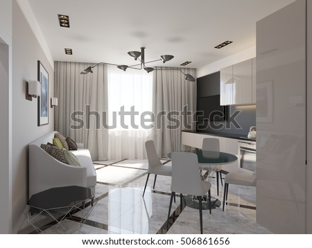 stylish living room and kitchen 3D rendering