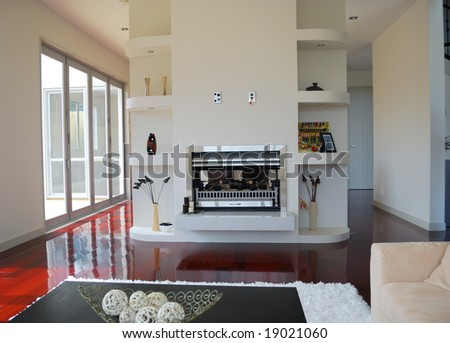 stylish living room design with fireplace - stock photo