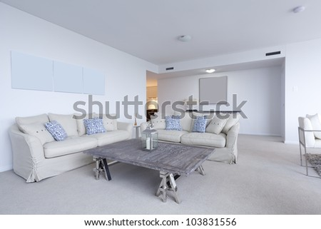Stylish living room in modern apartment. - stock photo