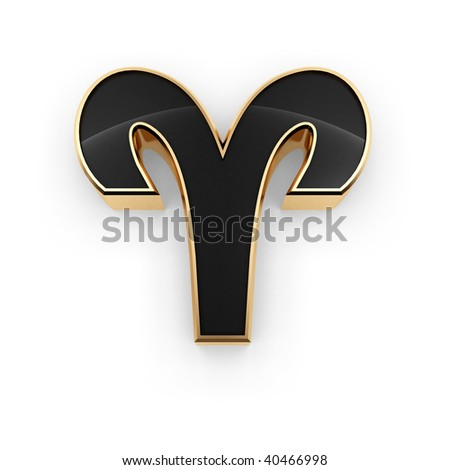 Stylish looking 3D Aries zodiac symbol icon isolated on white background - stock photo