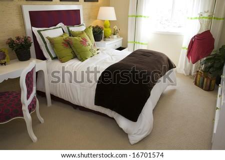 Stylish luxury bedroom. - stock photo