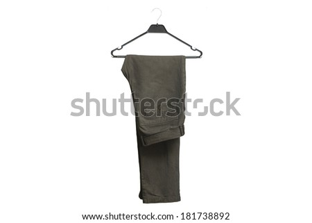 Stylish men's grey pants on a hanger isolated on white background