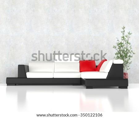 Stylish modern corner furniture set wit red pillows - stock photo