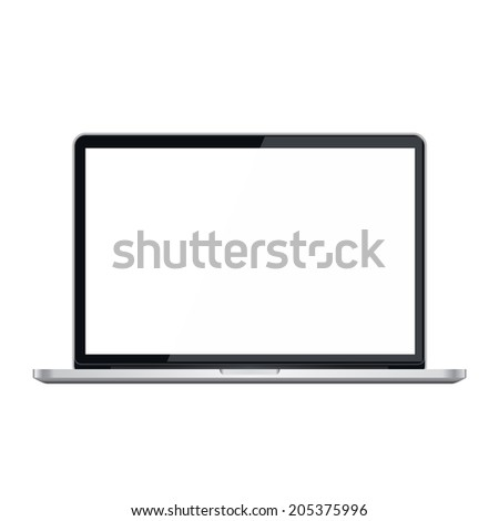 Stylish modern laptop with white screen. Rastr illustration. - stock photo