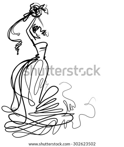 stylish  original hand-drawn graphics with beautiful young attractive girl model for design.  - stock photo