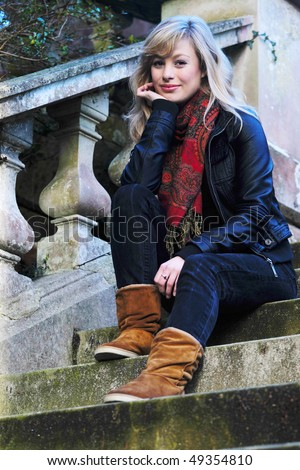 Stylish Outdoor Fashion Portrait - stock photo