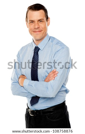 Stylish portrait of handsome businessman against white background - stock photo